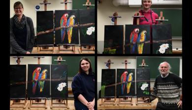 Papageien Triptychon